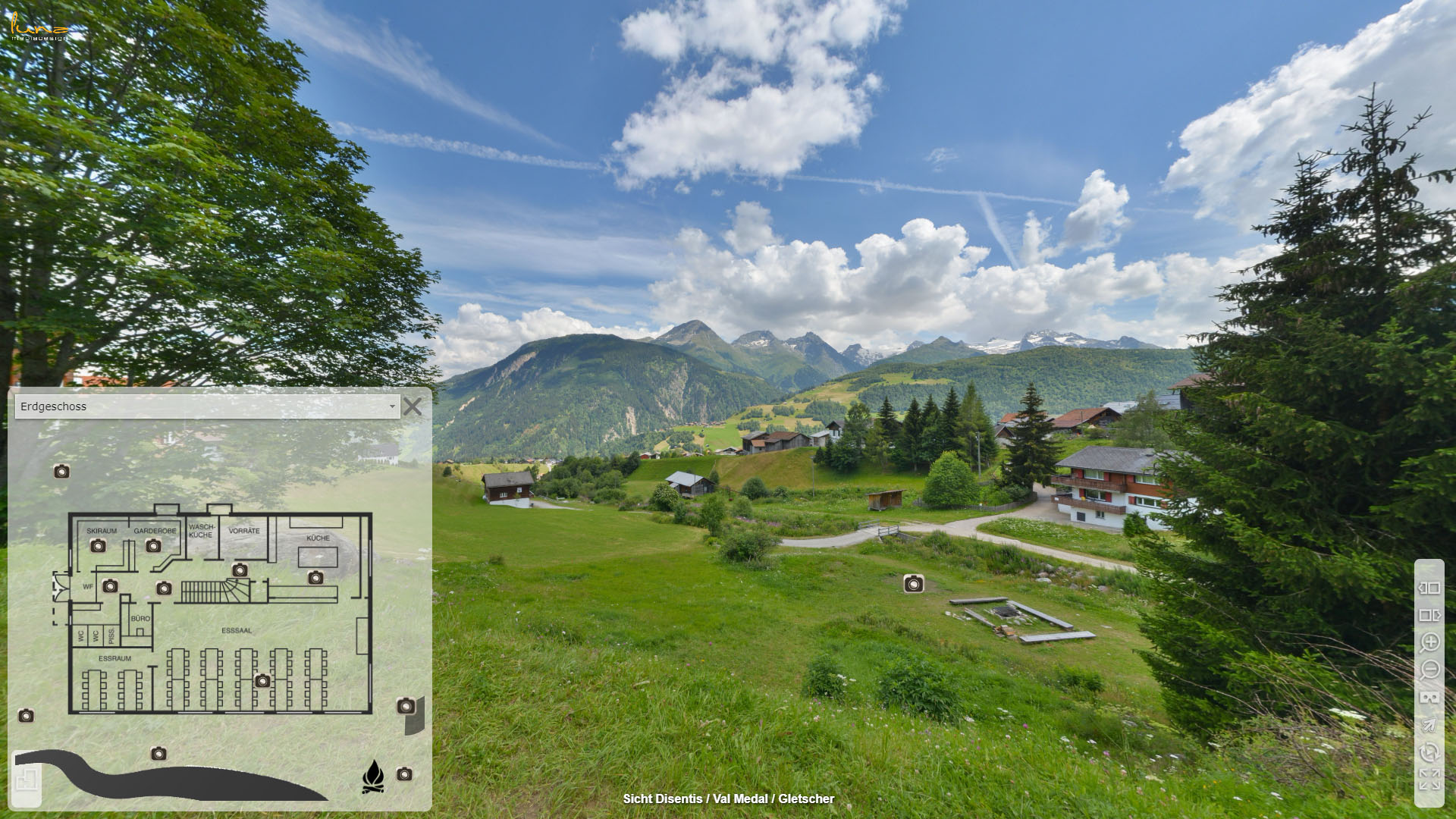 Alpina Gruppenhaus Graubuenden Sicht Disentis Gletscher
