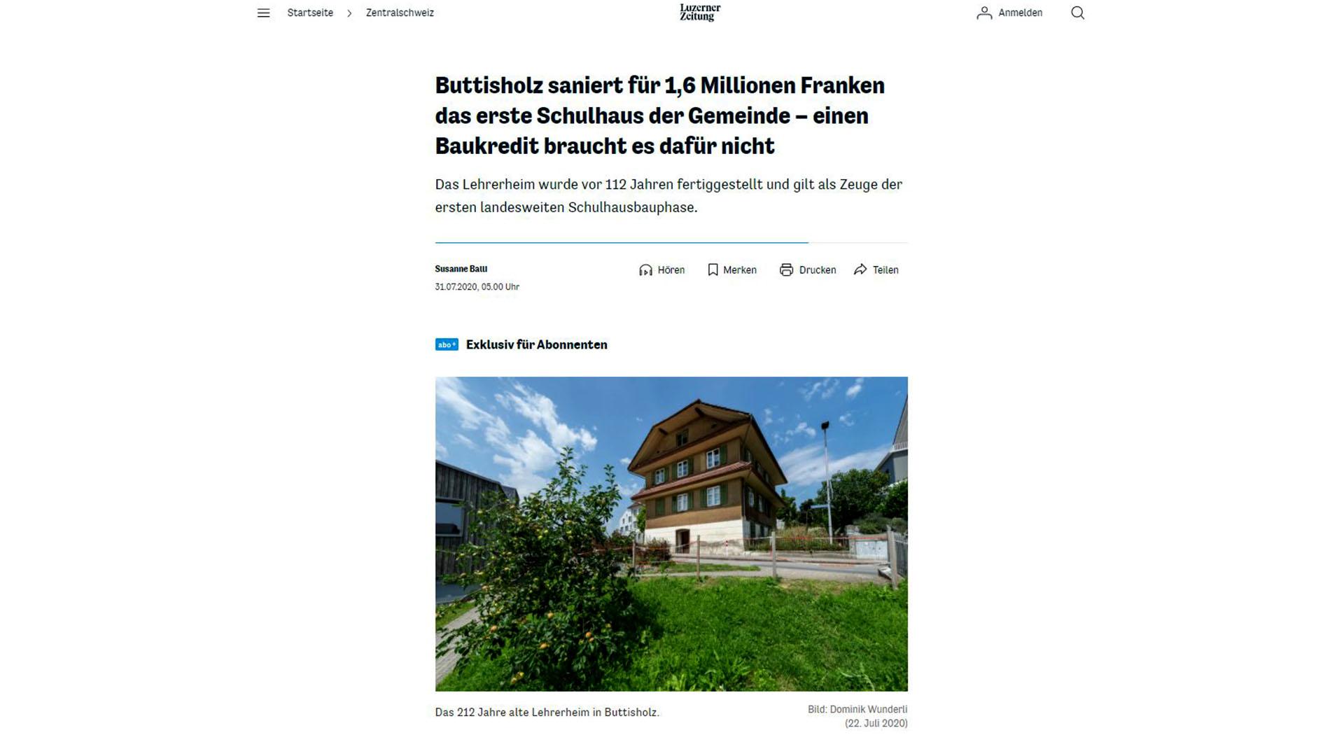 Altes Lehrerheim Buttisholz Luzerner Zeitung